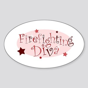 """Firefighting Diva"" [red] Oval Sticker"